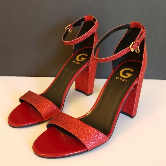 G By Guess Red Glitter Sandals Size 1